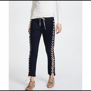 Pam & Gela Navy Lace Down Crop Sweatpants PG509